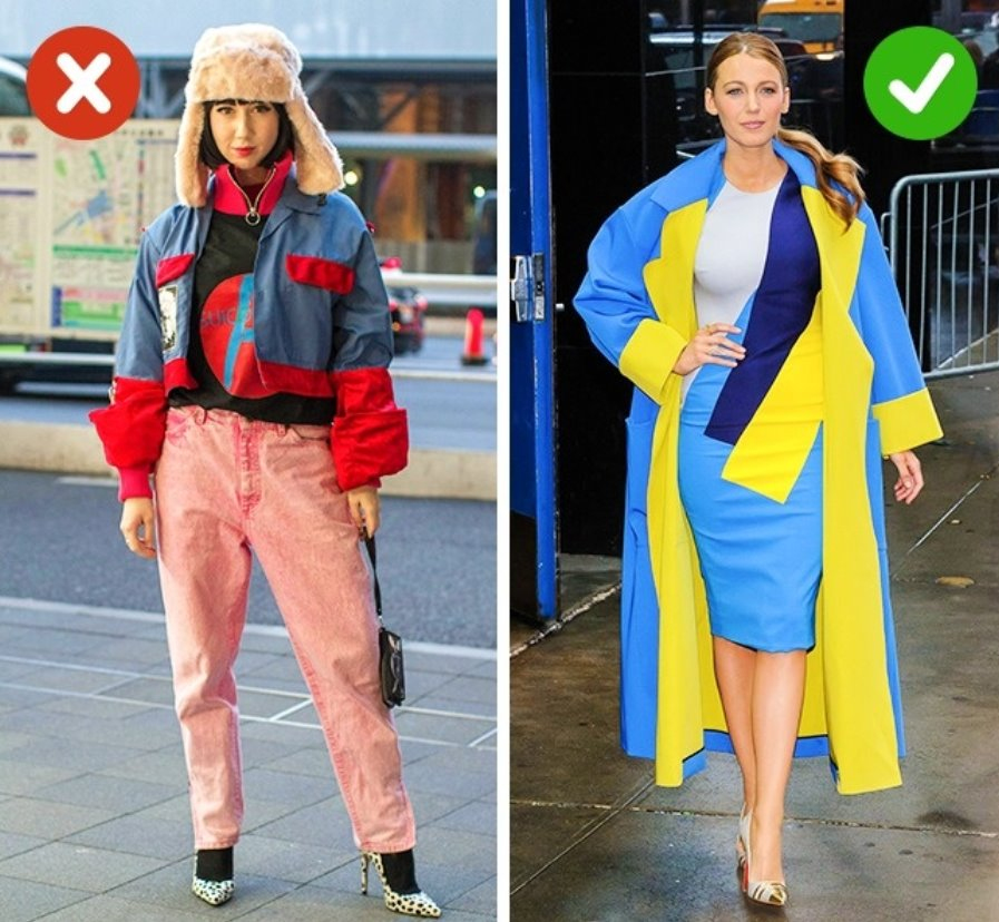Do not combine more than 3 colours in an outfit