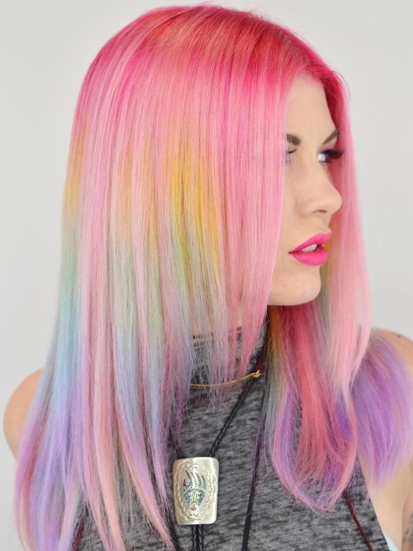 Rainbow pink hair