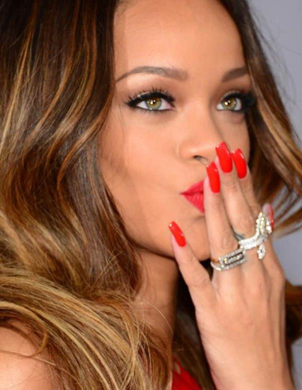 Rihanna 2013 red nails
