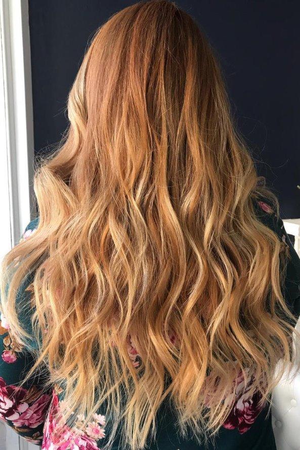 Strawberry blonde hair balayage