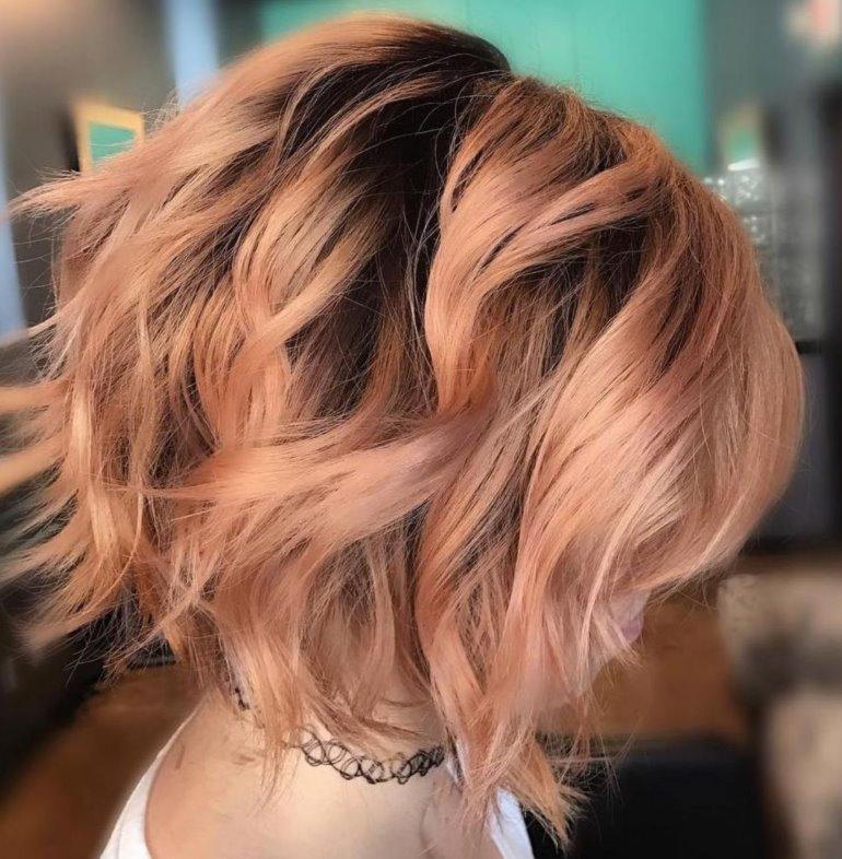 Strawberry blonde hair wavy bob