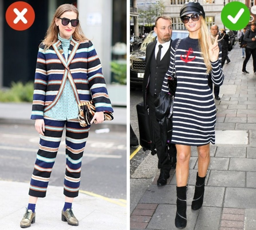 Your body looks bigger if you wear horizontal stripes