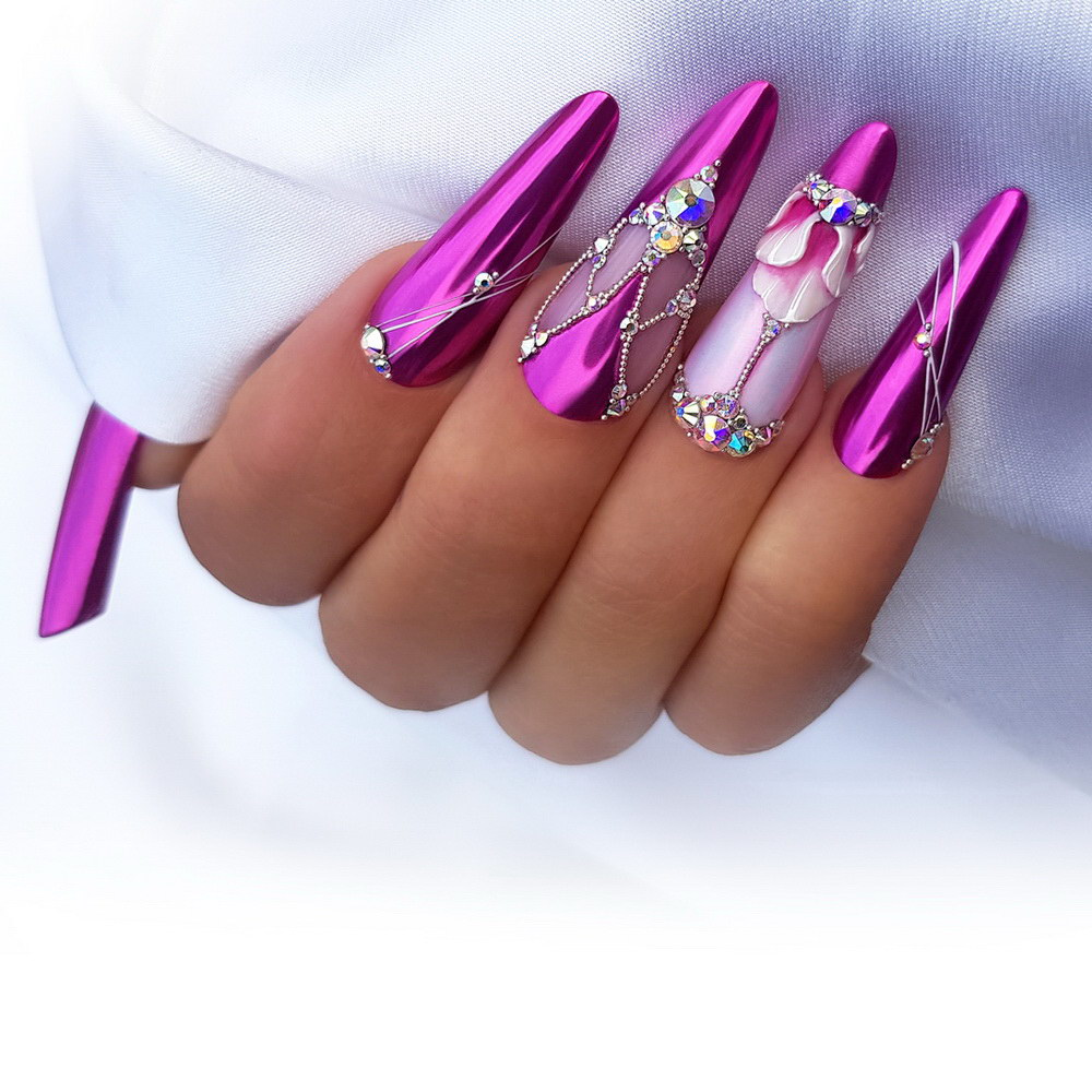 acrylic nails chrome