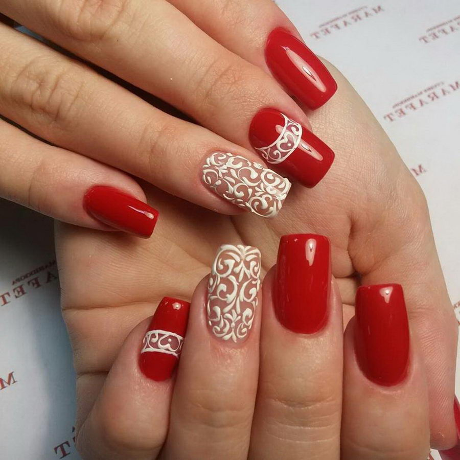 acrylic nails red