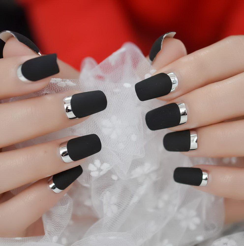 black and silver fake nails
