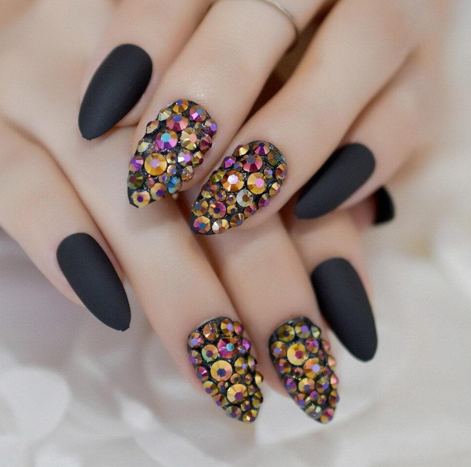 black nails colored diamonds