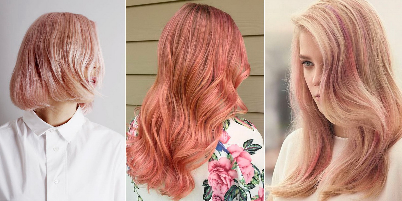 blonde hair with rose gold highlights
