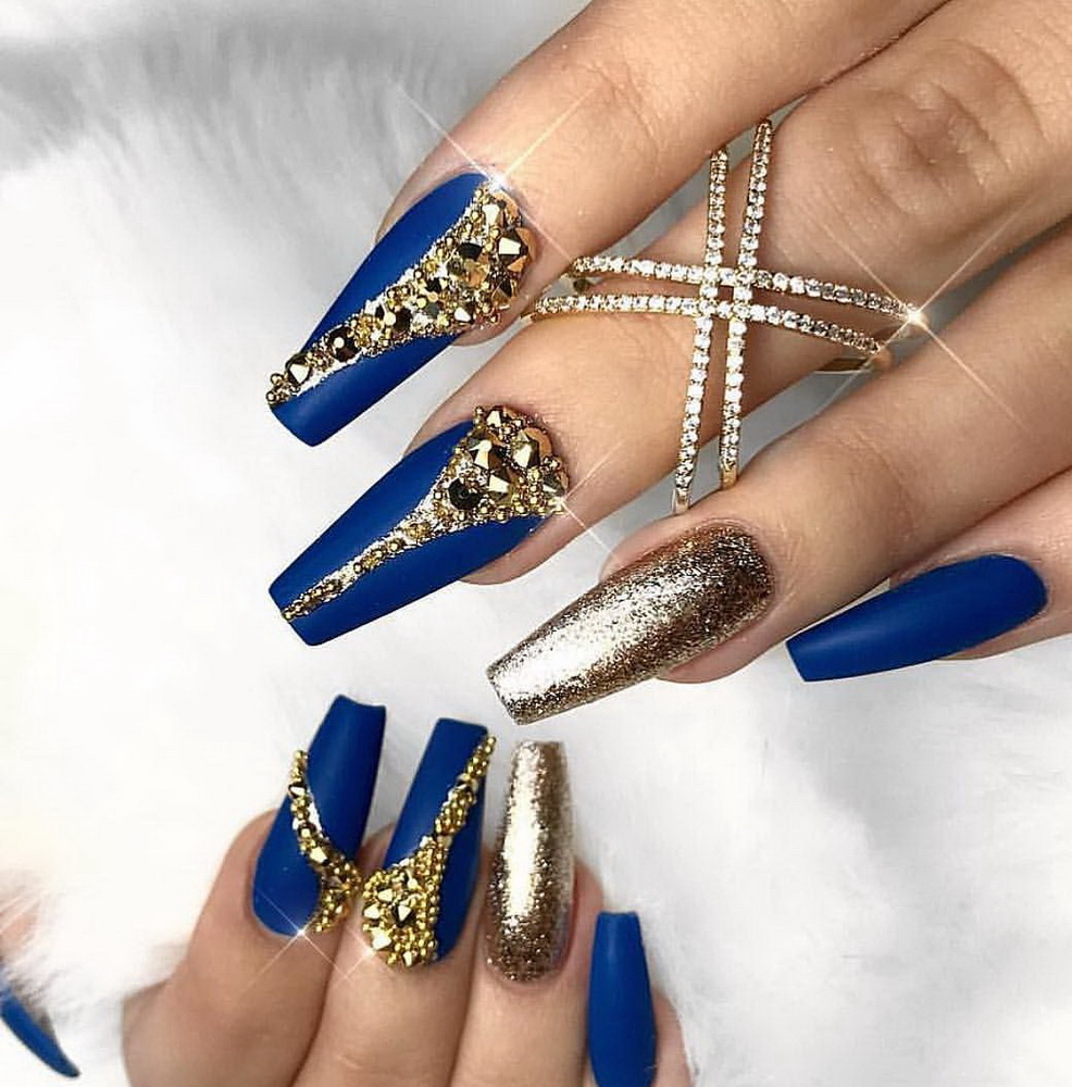blue and gold regal nails
