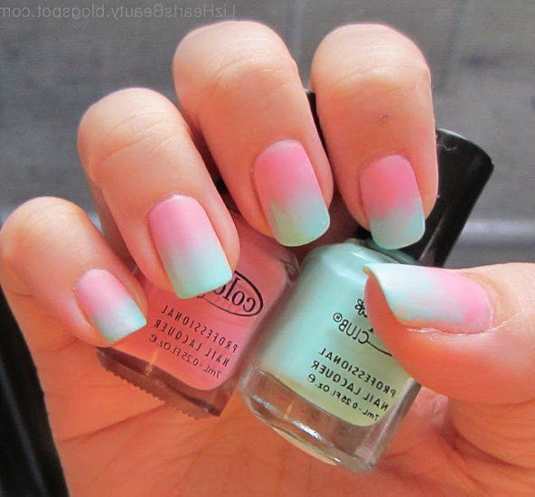 blue and pink nails