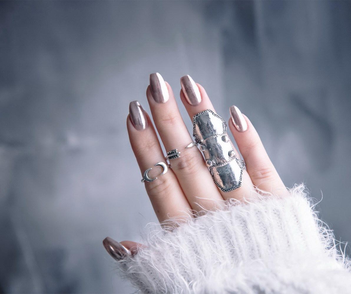 bronze chrome nails