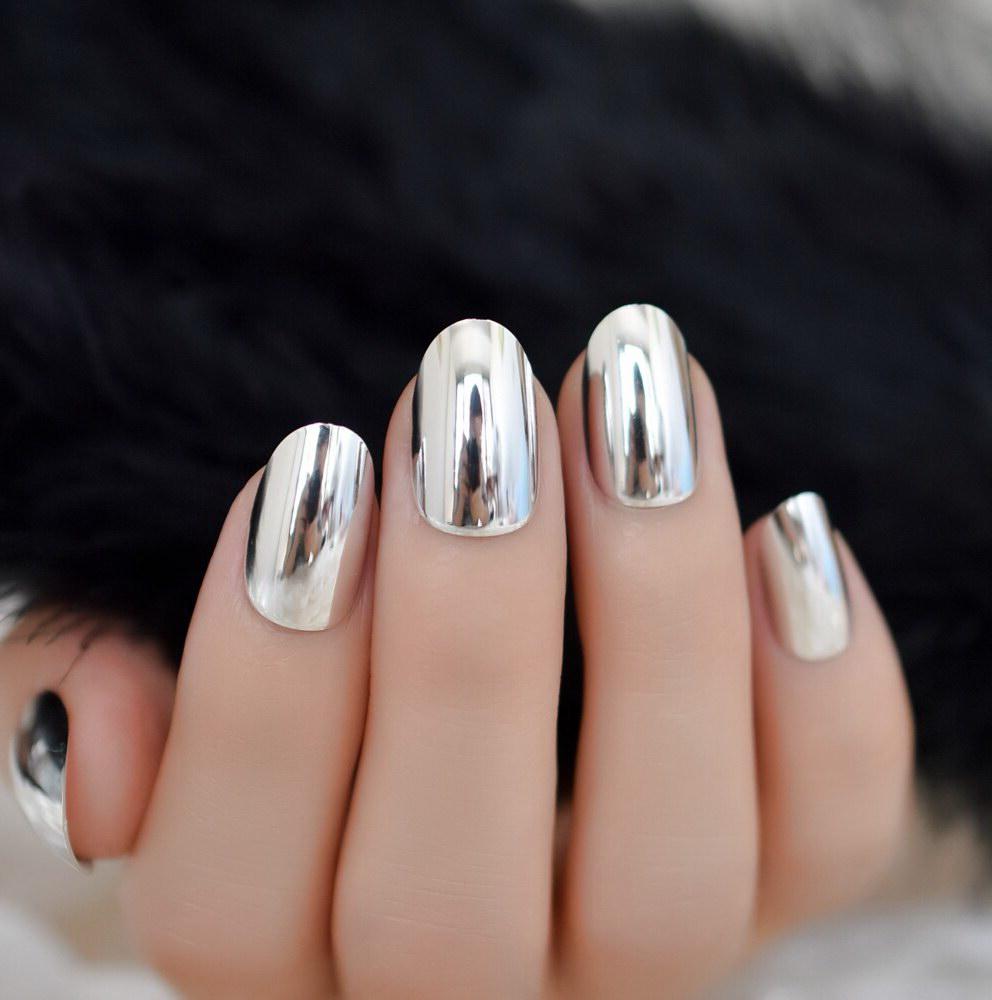 chrome almond nails