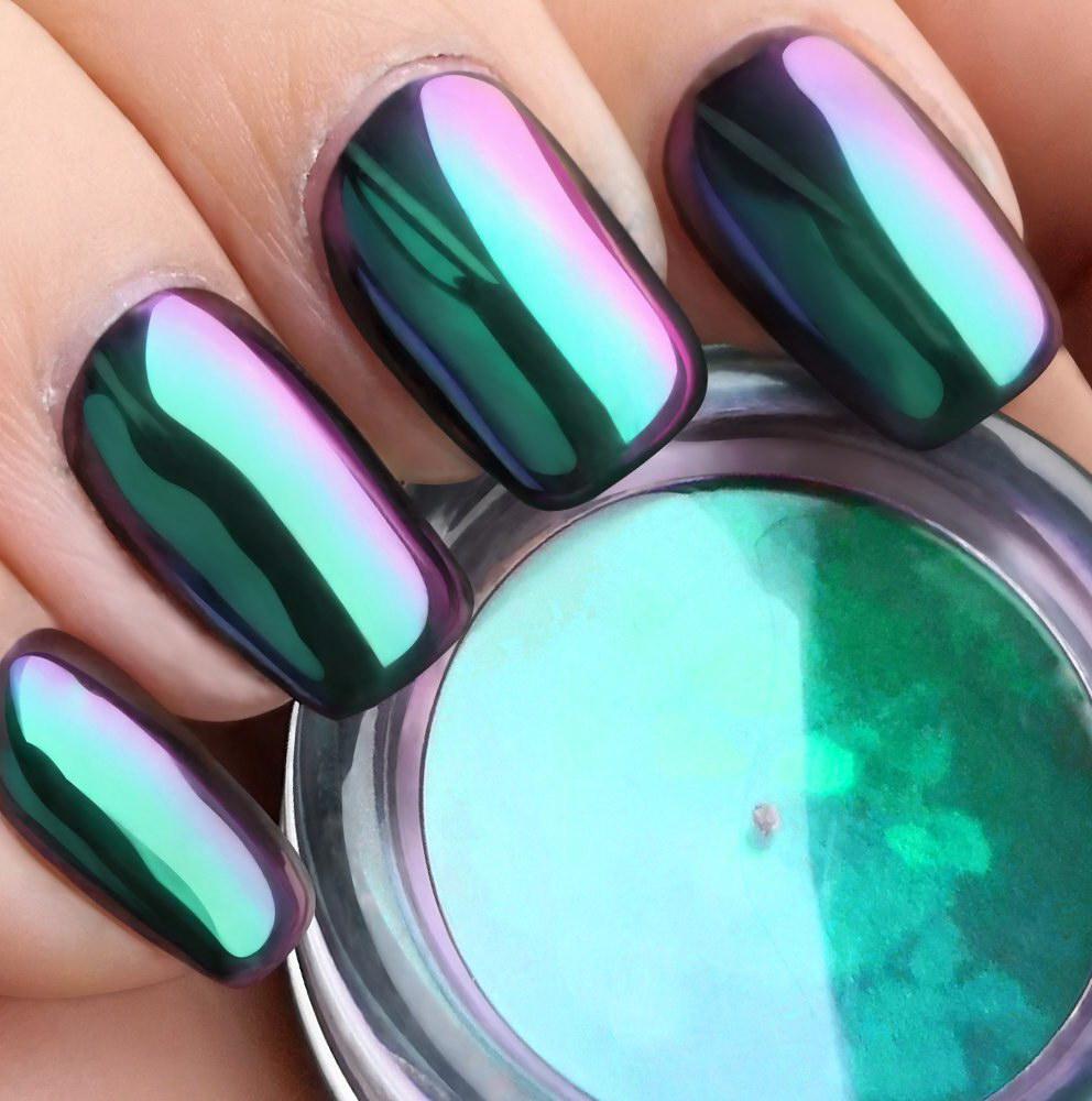 chrome color nails