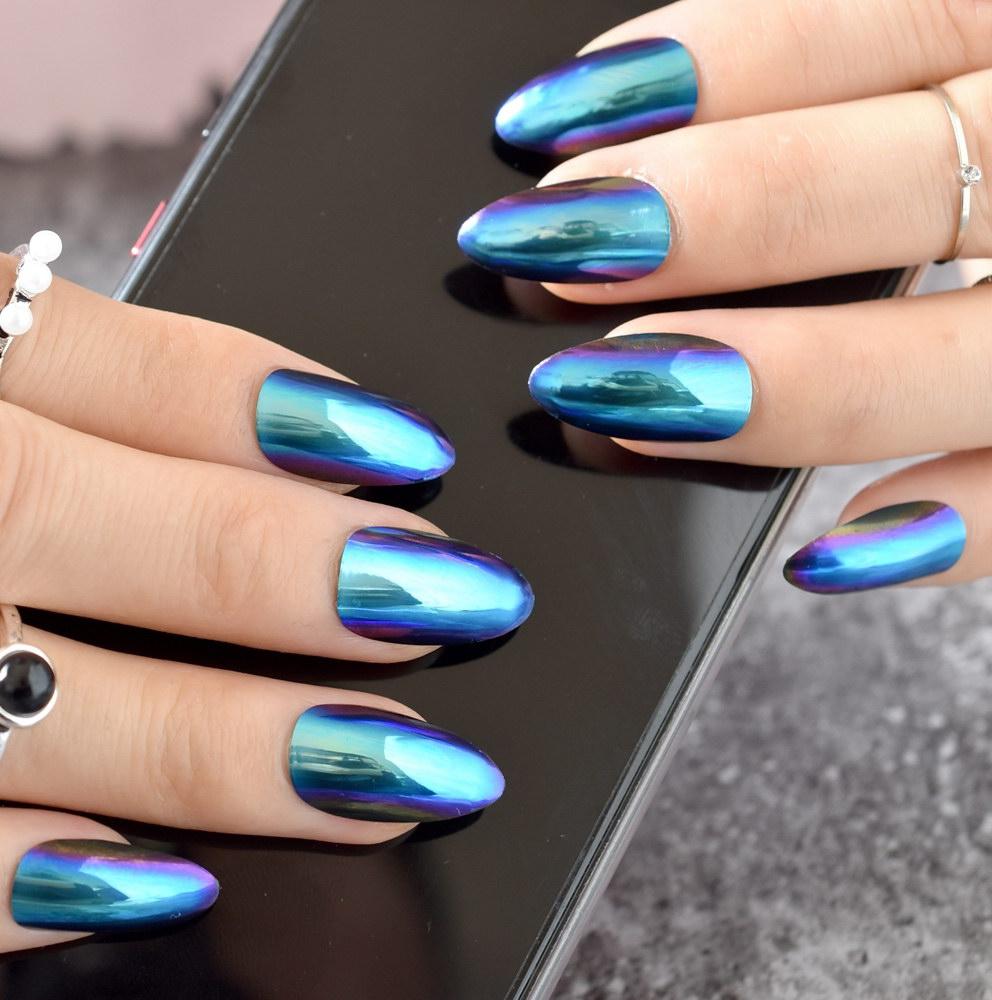 chrome fake nails