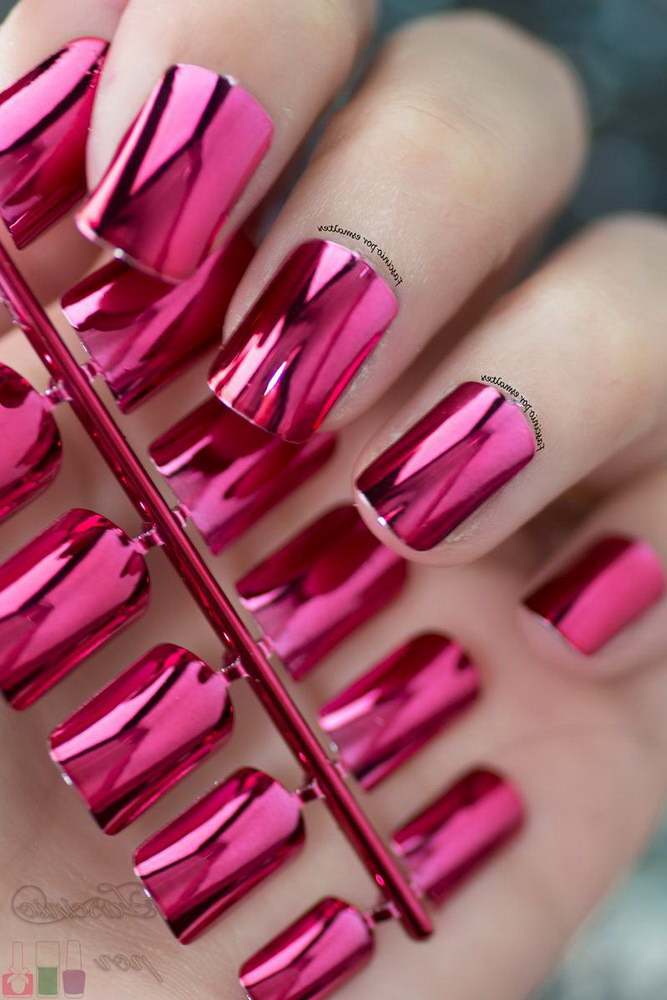 chrome pink nails