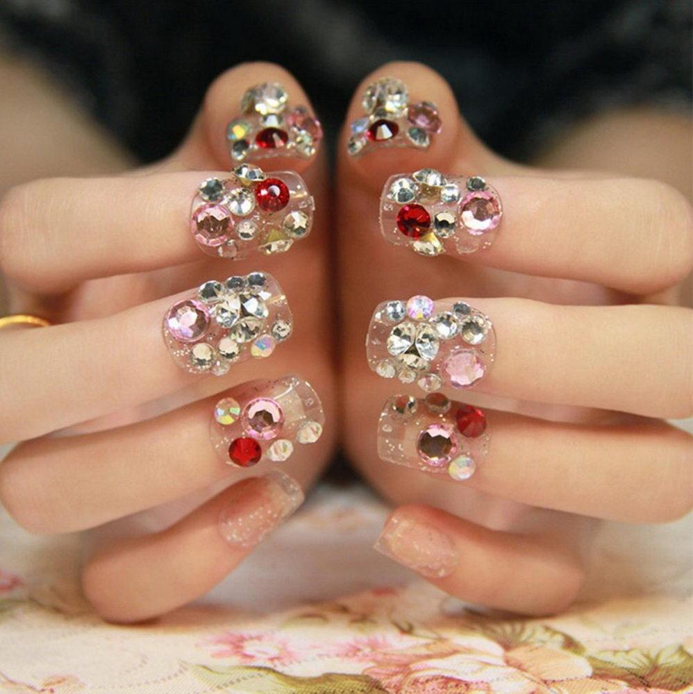 colored diamonds nails