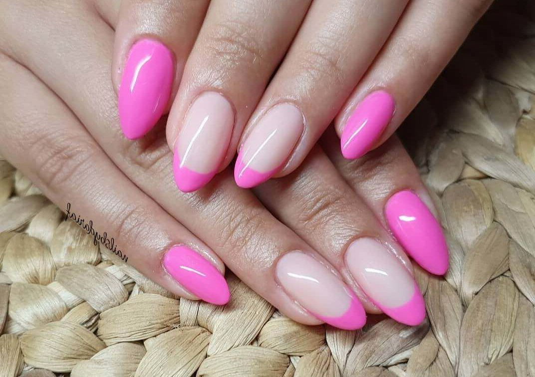 french tip pink nails
