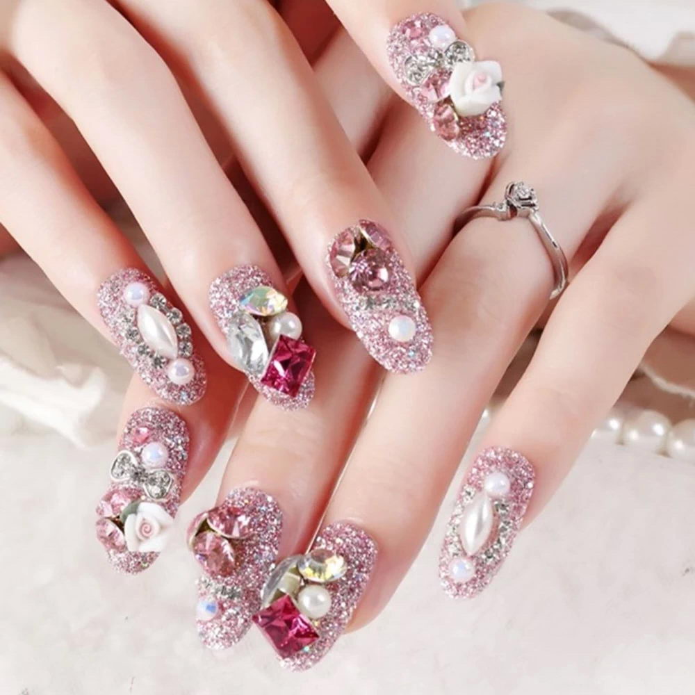 glitter nails with diamonds