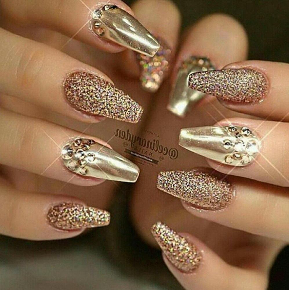 gold diamonds nails