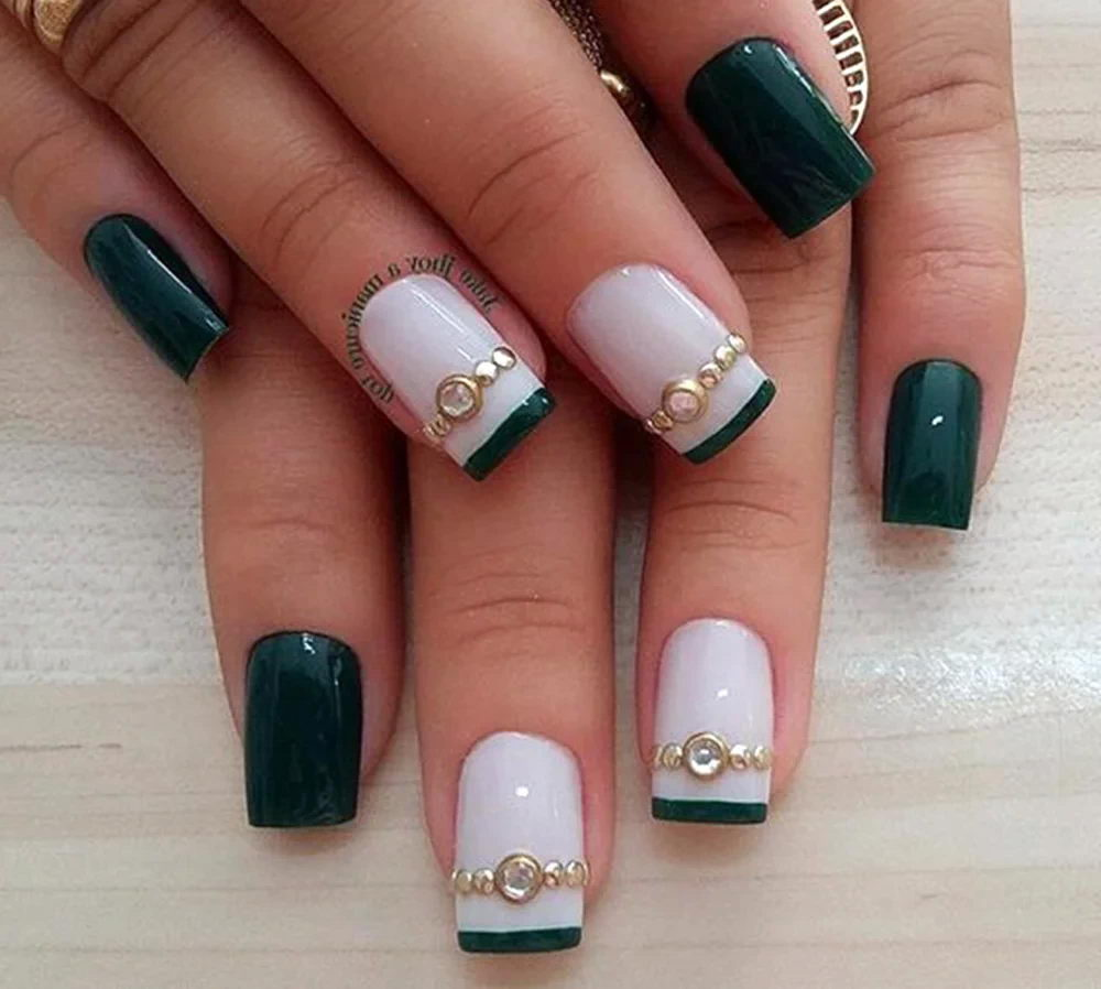 green nails with gems
