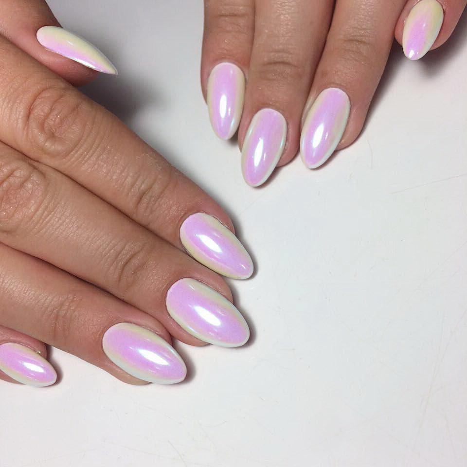 light pink chrome nails