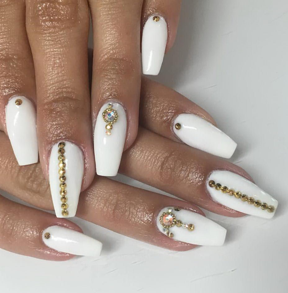 long nails with gems