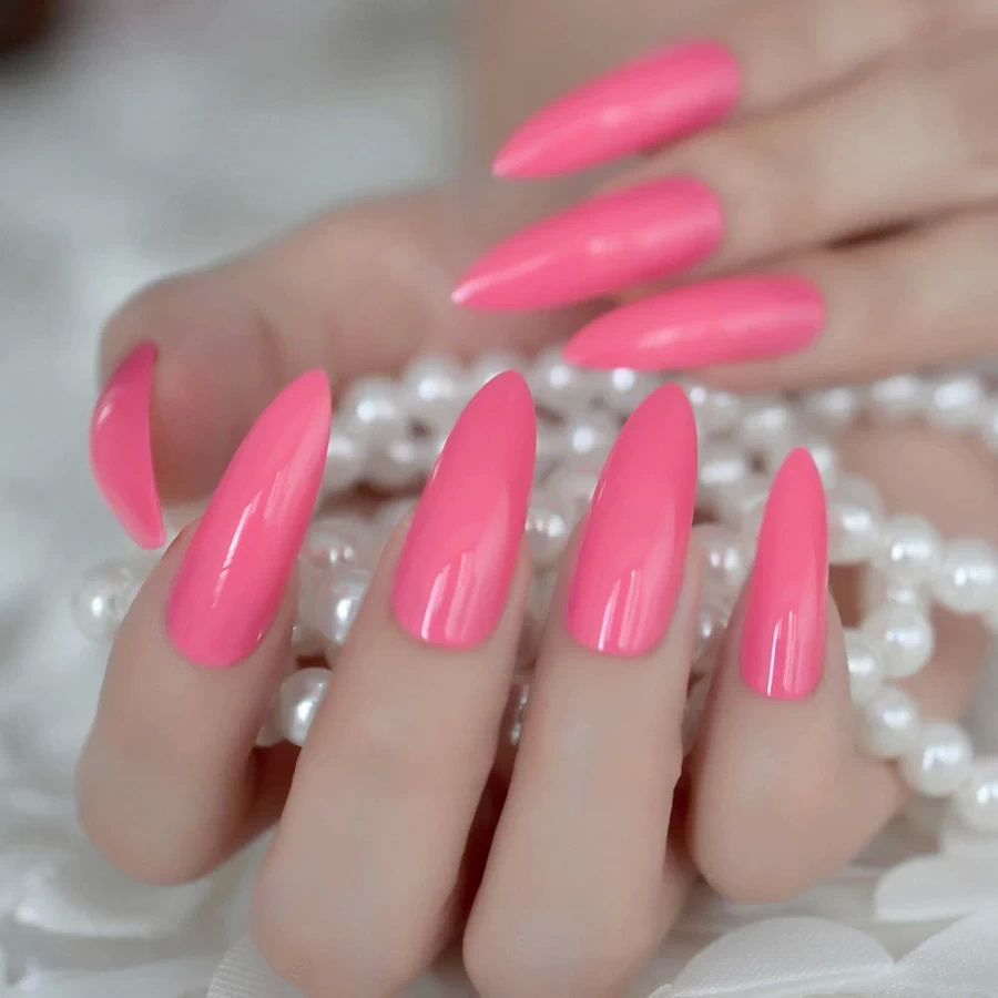 long stiletto pink nails