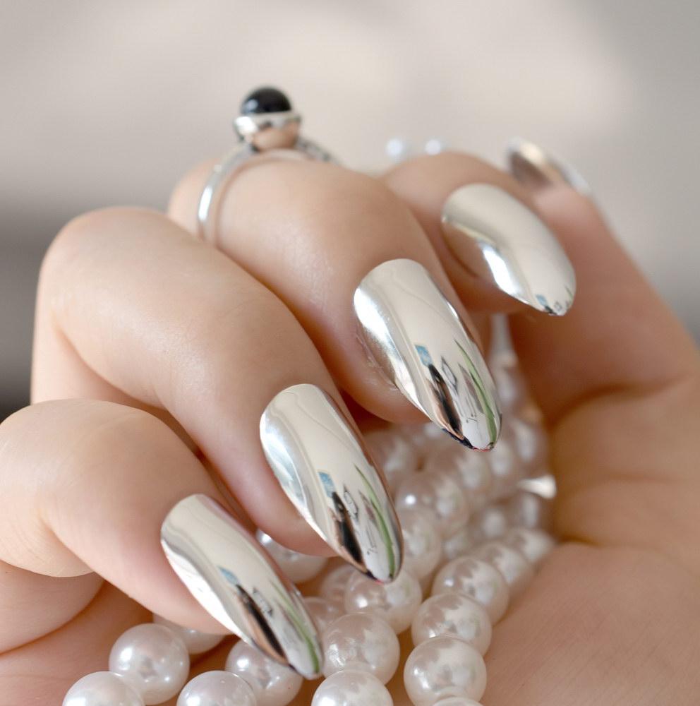 metallic chrome nails