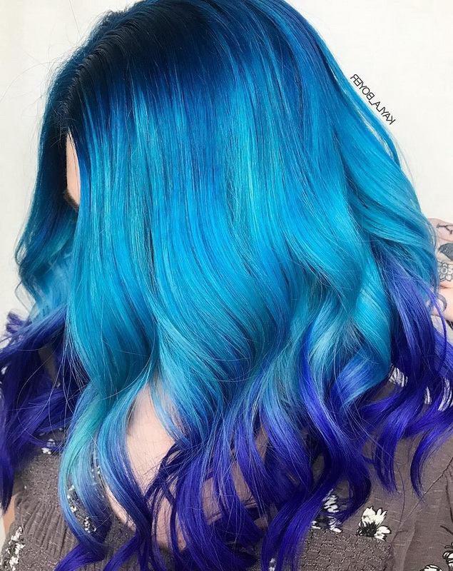 ombre blue hair