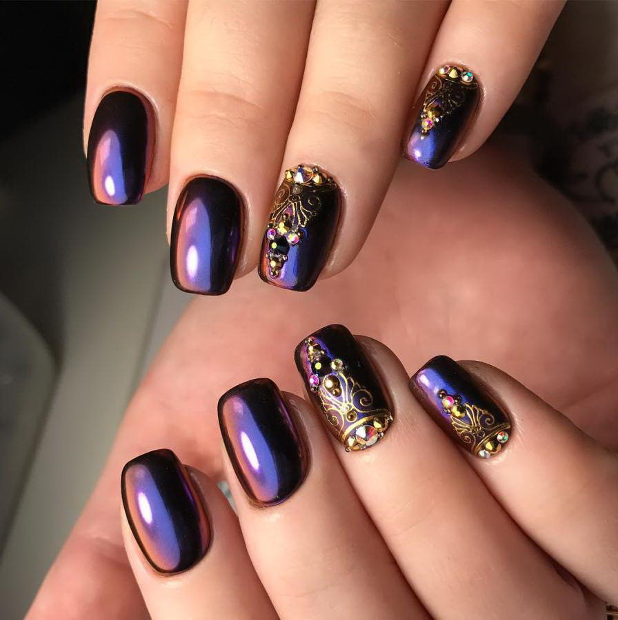 ombre nails with gems