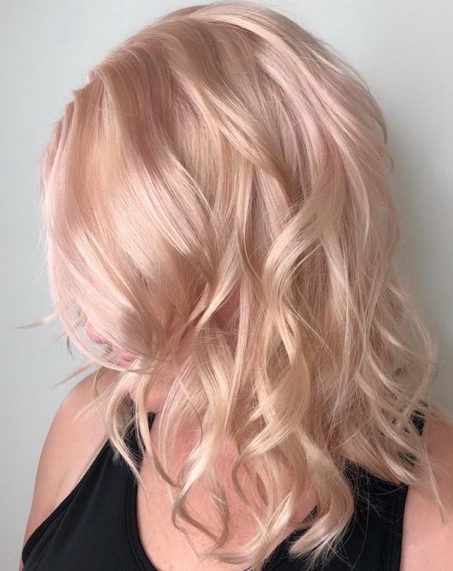 pastel rose gold hair
