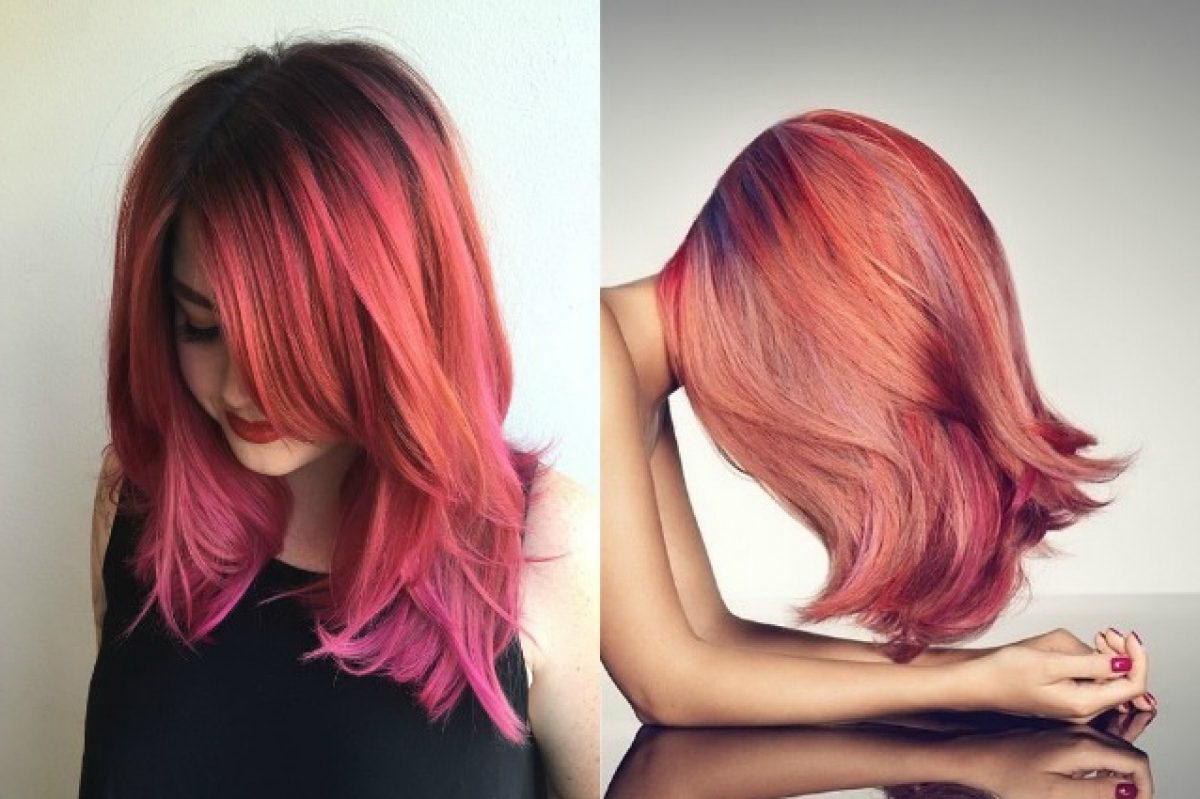 peach pink hair
