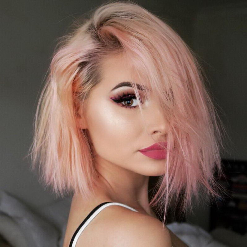 pink highlight in blonde hair