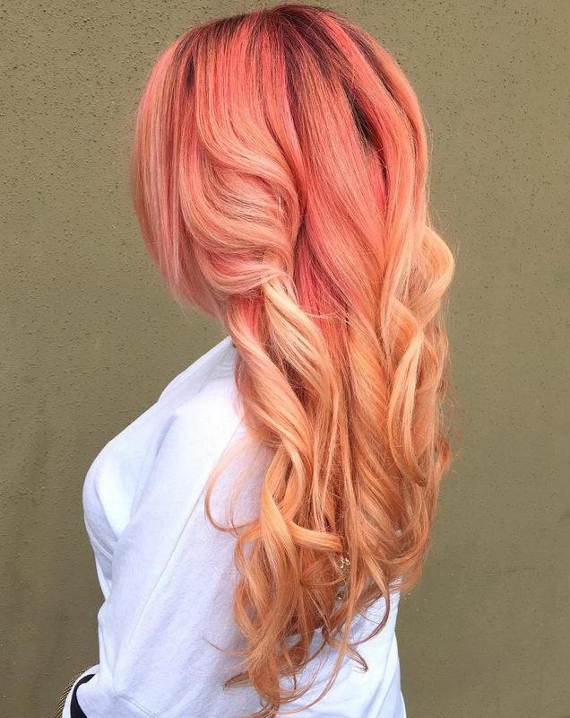 pink strawberry blonde hair