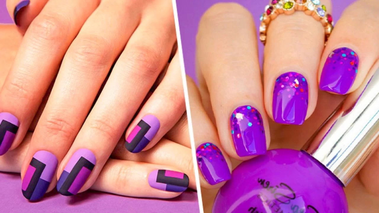purple nails fake