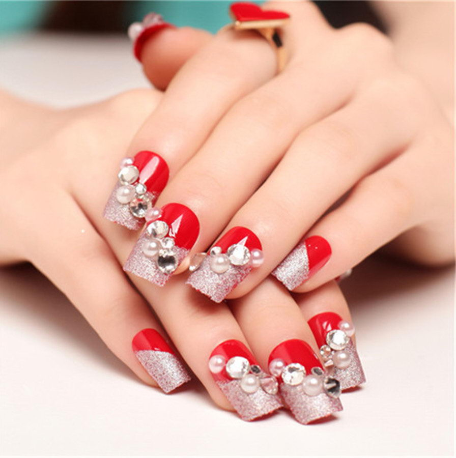 red 3D nails