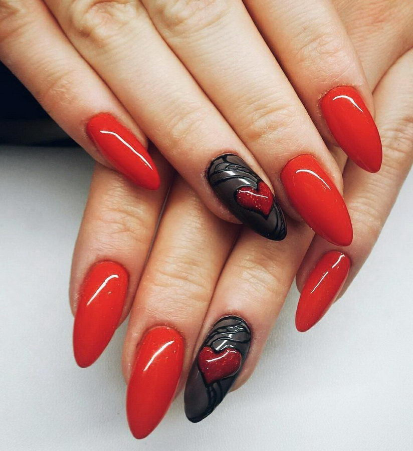 red and black acrylic nails
