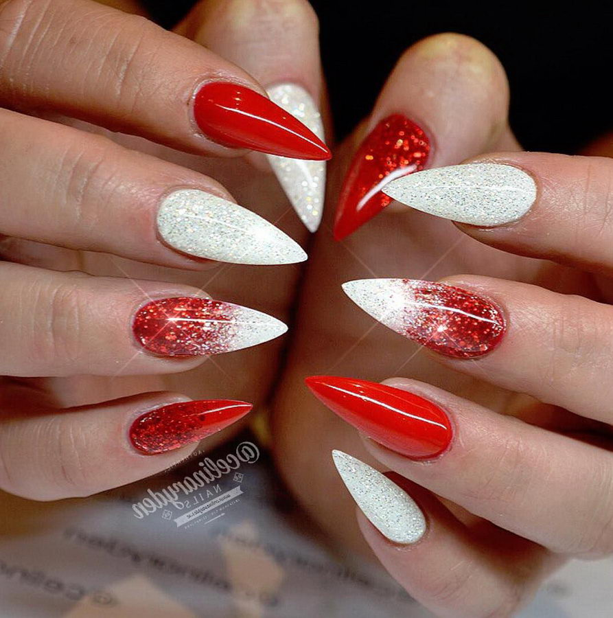 red and white glitter nails