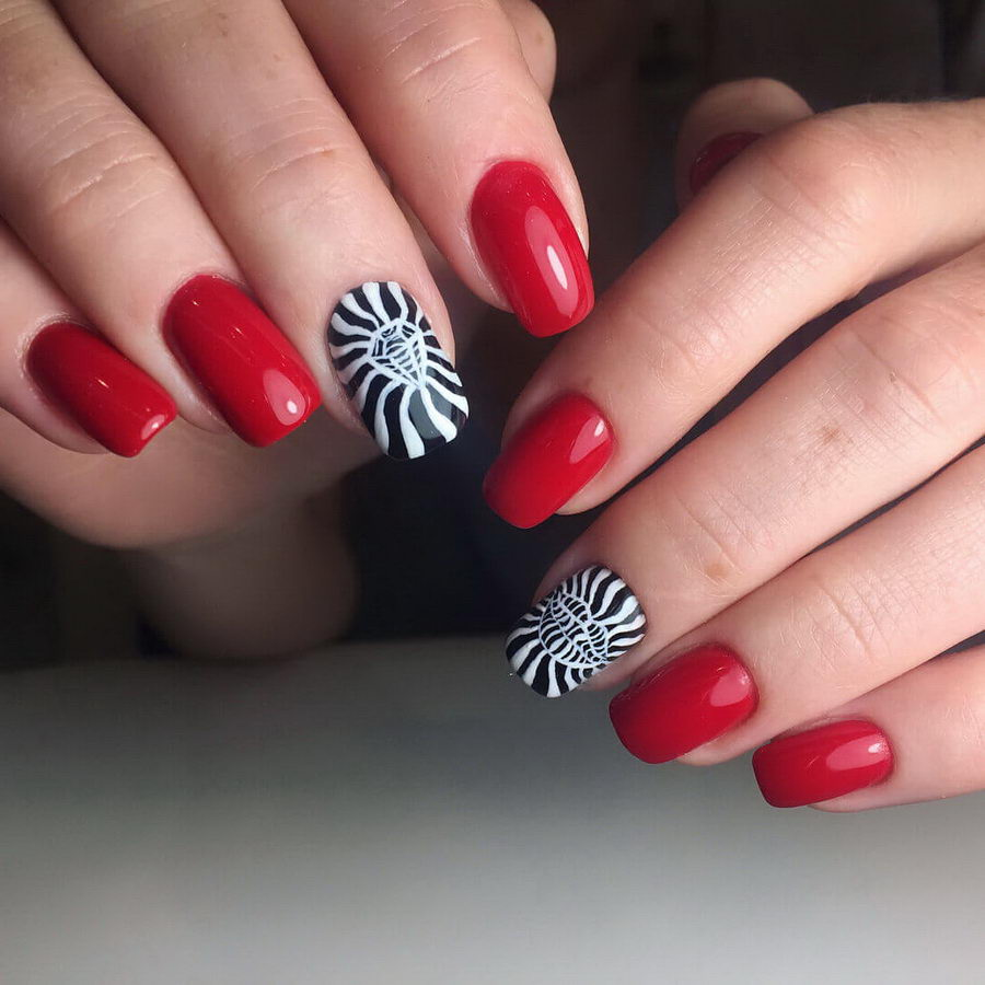 red black and white nails