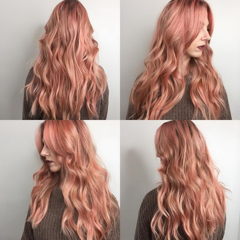 rose gold and blonde hair