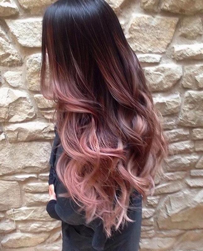 rose gold brunette hair
