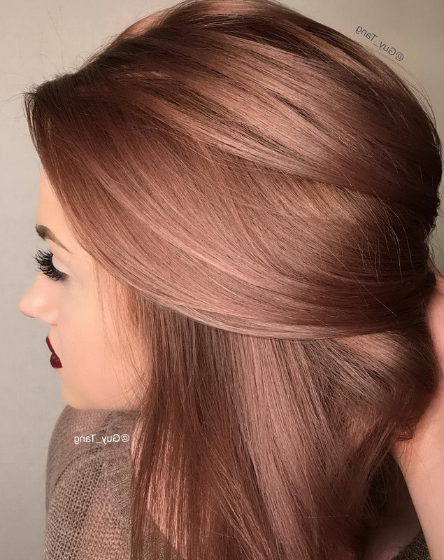 rose gold for brown hair