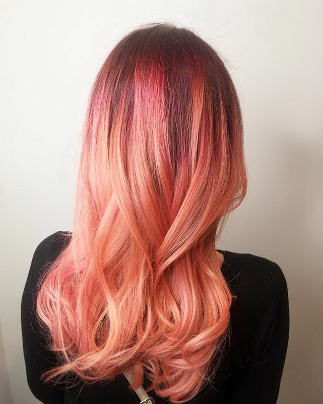 rose gold hair ombre