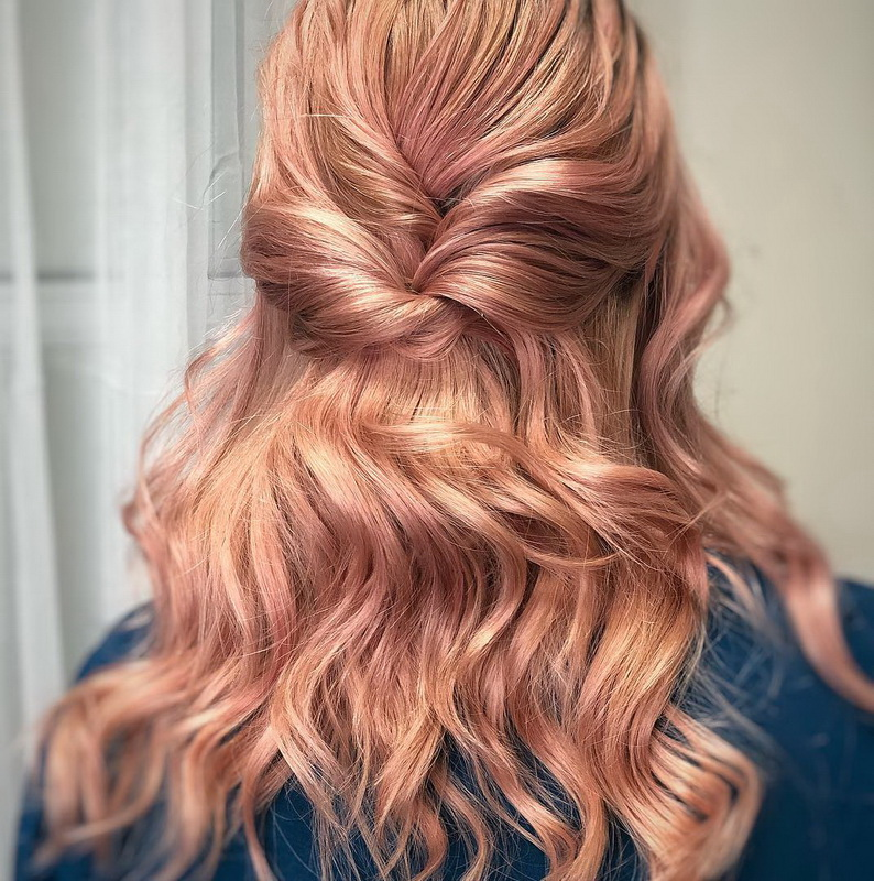 rose gold hair weave