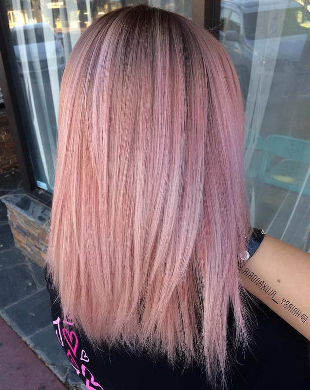 rose gold hair with dark roots