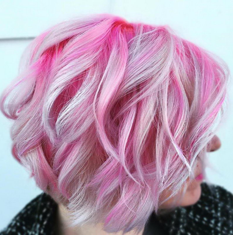 silver and pink hair