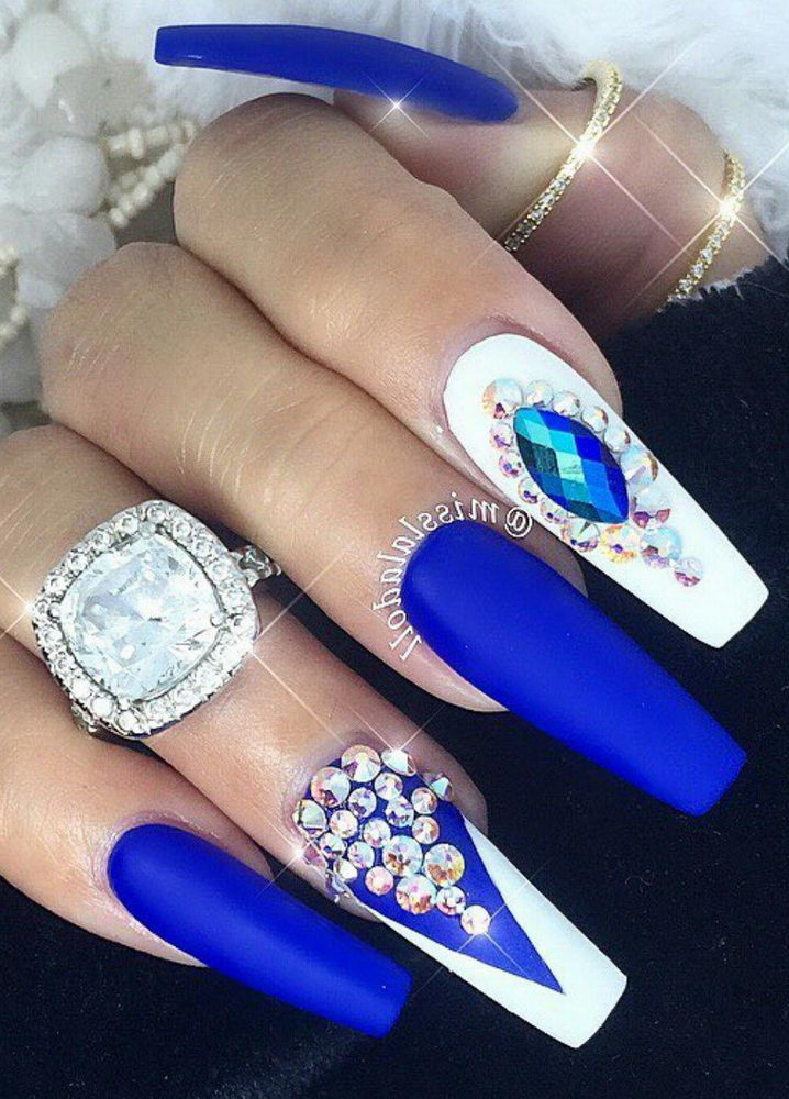 white and blue diamond nails