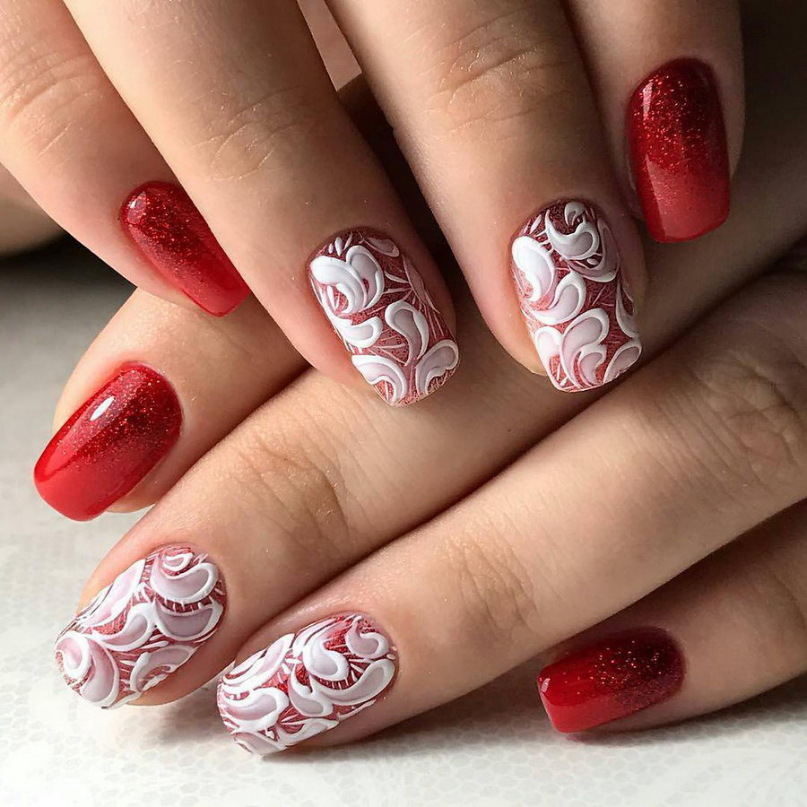 white and red nails
