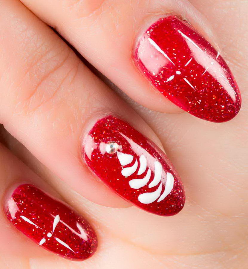 winter red nails