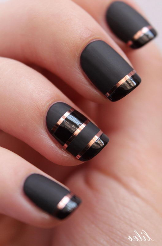 Black Nail with gold