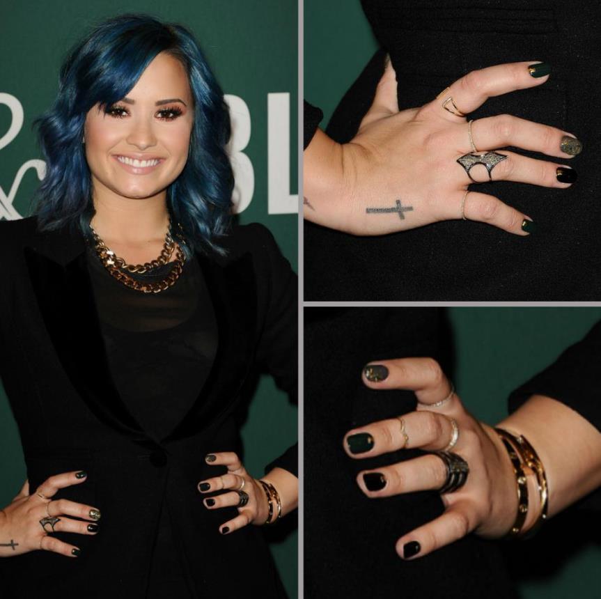 Demi Lovato black nails